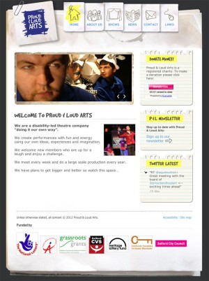 Screenshot: Proud & Loud Arts home page