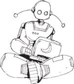 Illustration: Robot with laptop