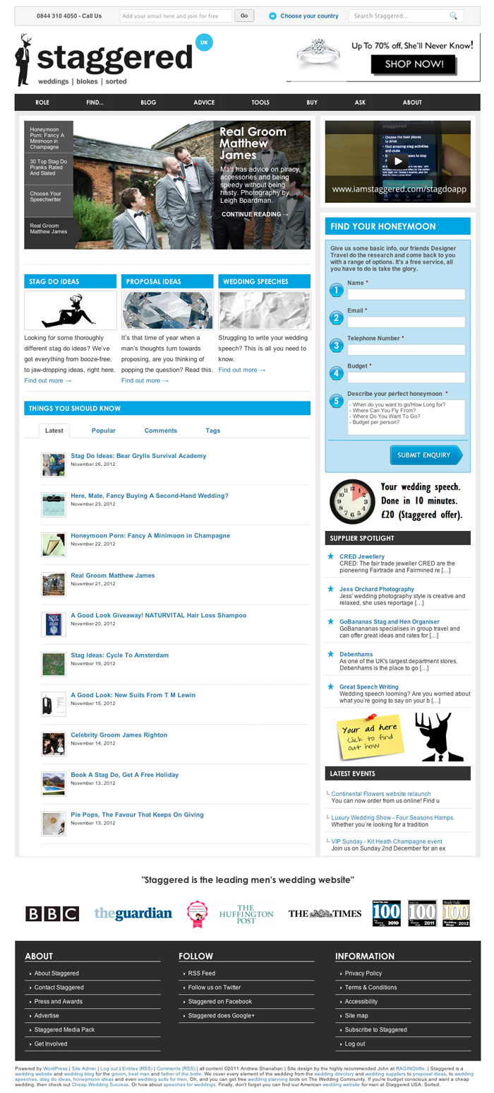 Screenshot: I Am Staggered home page