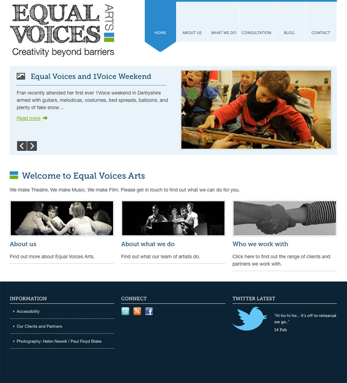 Screenshot: Equal Voices Arts