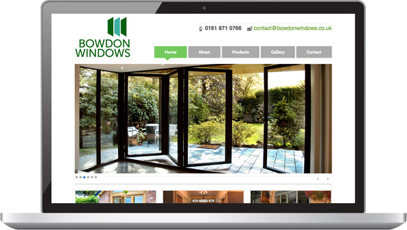 Bowdon Windows website on laptop
