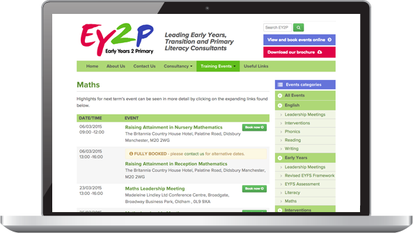 Screenshot: EY2P website courses menu page
