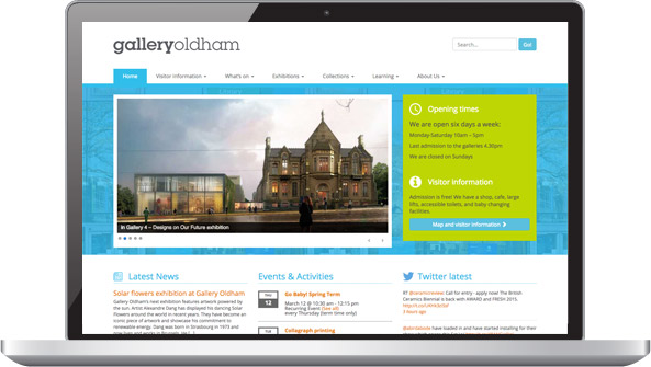 Screenshot: Gallery Oldham home page