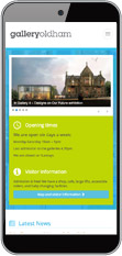 Mobile view of Gallery Oldham website