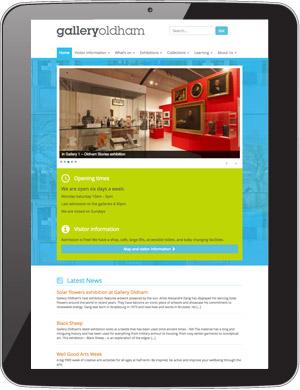 Tablet view of Gallery Oldham website