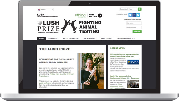 The Lush Prize website as seen on a laptop