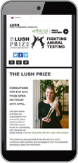 The Lush Prize website as seen on a mobile device