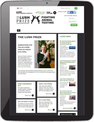 The Lush Prize website as seen on a tablet