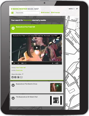 Tablet view of Manchester Music Map