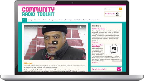 Screenshot: Community Radio Toolkit - laptop/desktop view