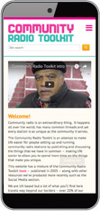 Screenshot: Community Radio Toolkit - mobile view