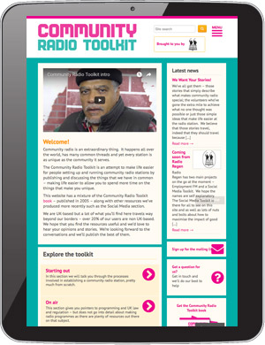 Screenshot: Community Radio Toolkit - tablet view