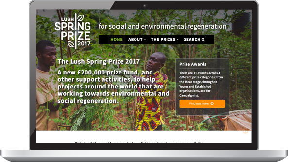 Screenshot: Lush Spring Prize laptop view