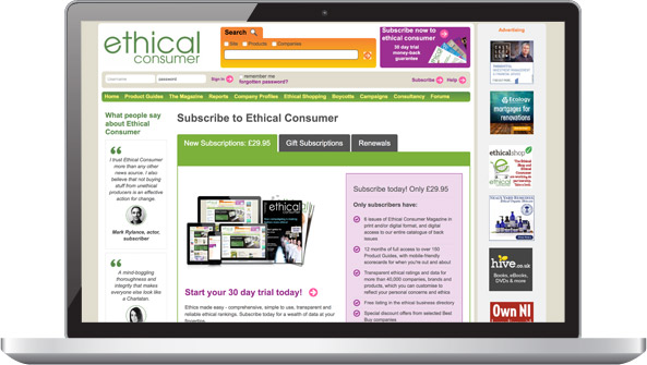 Screenshot: Ethical Consumer subscribe page
